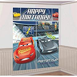 Disney Cars 3 Lighning McQueen Kids Party Scene Setter Wall Decorations Kit - Kids Birthday and Party Supplies Decoration
