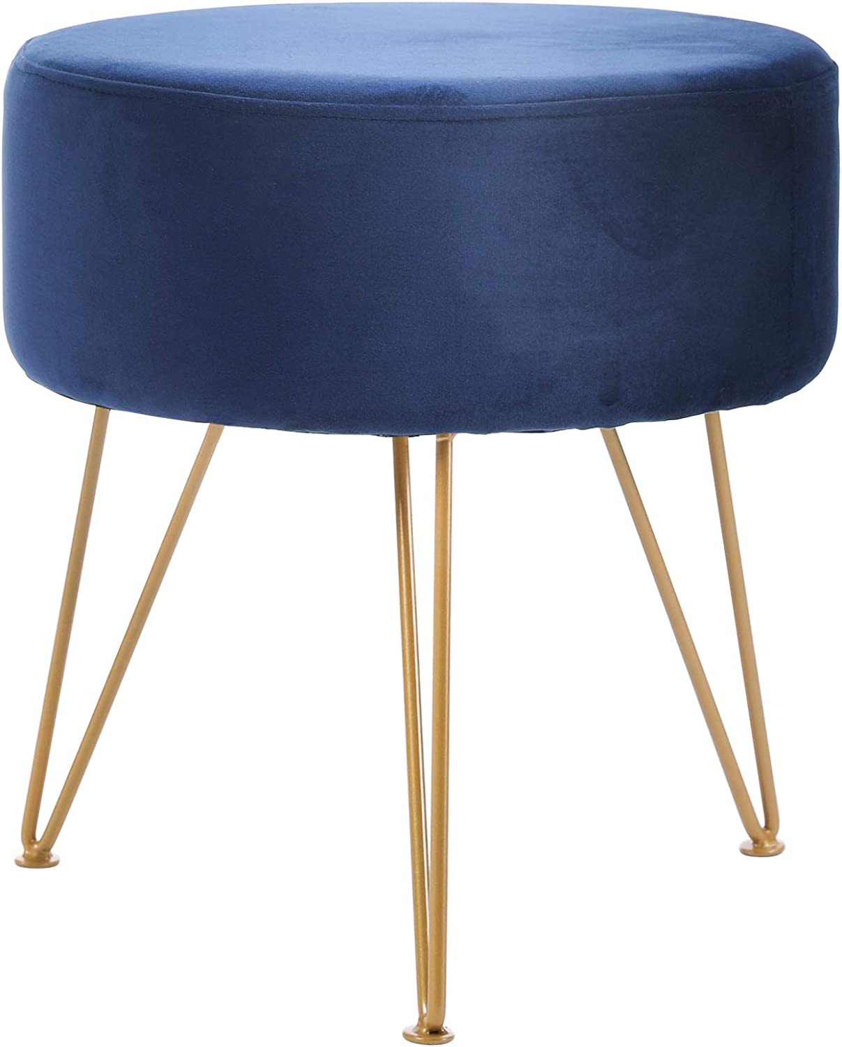 IBUYKE Ottoman Chair Stool Upholstered Footrest Stool Velvet Dressing Table Seat Pouf Couch Stool Golden Steel Legs (DiaxH) 39X45.5cm LG-008