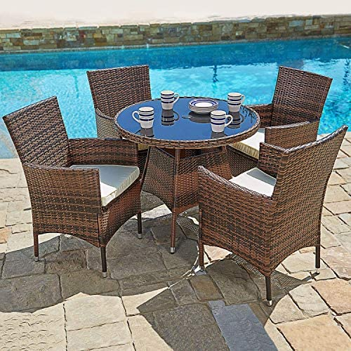 Oakmont 5-Piece Patio Furniture Outdoor Wicker Dining Chairs Set