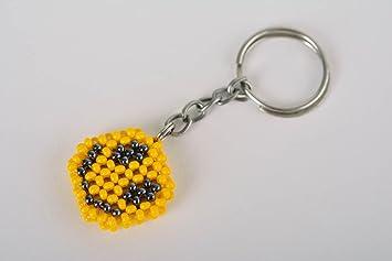 Porte clefs fait main Porte cles emoticone souriante jaune Cadeau pour  enfant 98f81fe0be5
