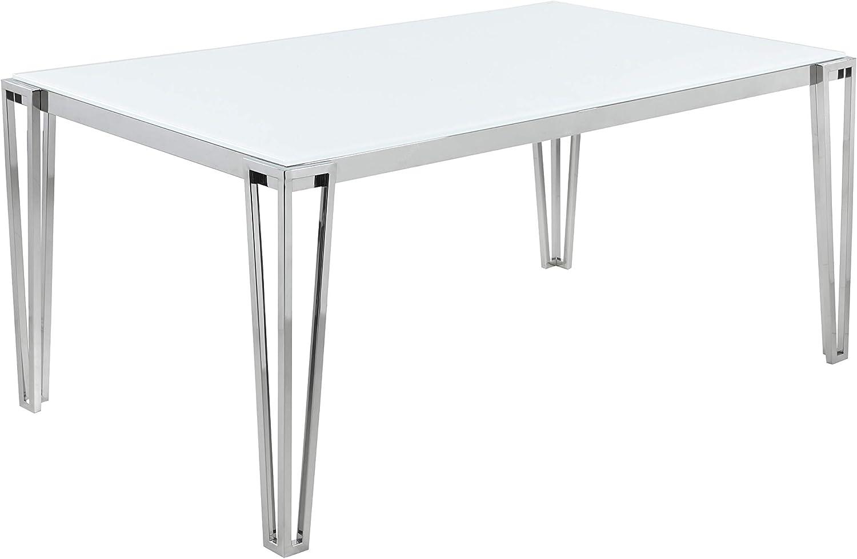 Coaster Home Furnishings Pauline Rectangular Metal Leg White and Chrome Dining Table