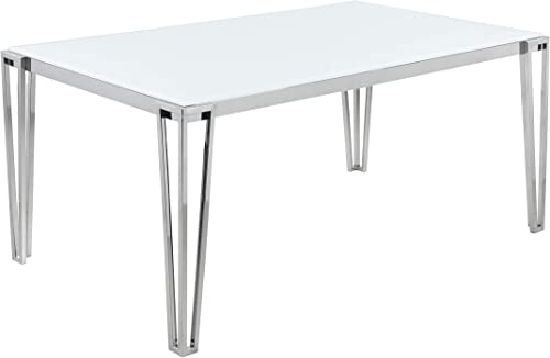 Coaster Home Furnishings Pauline Rectangular Metal Leg White and Chrome Dining Table