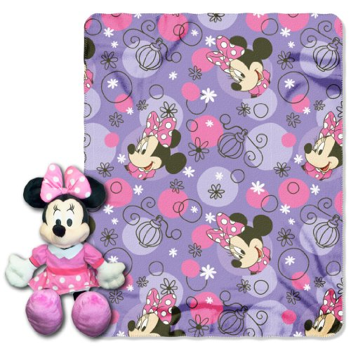 The Northwest Company Minnie Mouse, Perfume Pretty Printed Fleece Throw with Hugger, 40