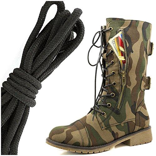 Dailyshoes Femmes Lace Militaire Boucle Boucle Bottes De Combat Mi Genou Haute Carte De Crédit Exclusive Poche, Solide Noir Armée Classique