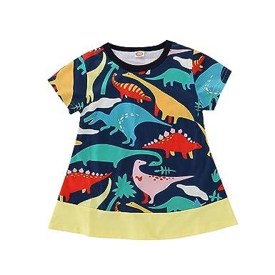 37d3c0ccff1c Little Girls Cotton Casual Cartoon Print Short Sleeve Dresses Skirt Set  (Toddler Baby Dinosaur Dress