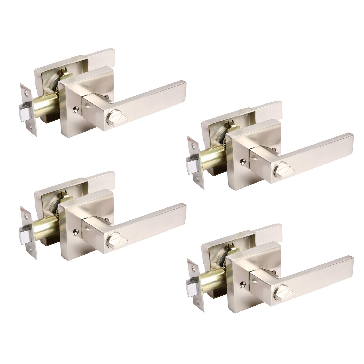 Interior Door Levers Brushed Nickel Finish Passage Function for Closets//Hallway//Laundry Rooms Satin Nickel Heavy Duty Door Handle Locks for Homes//Offices Keyless Door Handles Without Keys 1Pack
