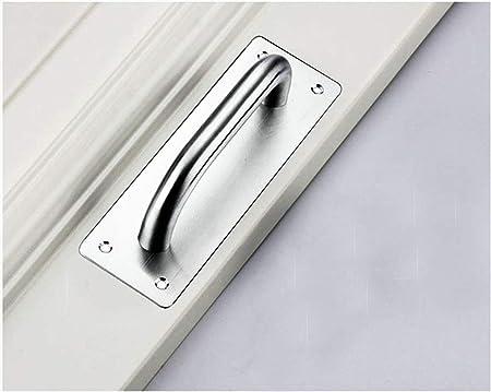Tirador de puerta corredera, Tiberham de acero inoxidable resistente, tirador de puerta con placa trasera, tirador de puerta de inodoro, placa de madera para armario (200 x 65 mm): Amazon.es: Bricolaje y