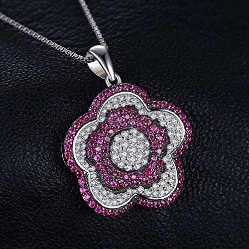 VERA NOVA JEWELRY Flower 0.76Ct Pink Synthetic Ruby Round-Shape Sterling Silver Pendant Necklace with 18-inch Box Chain