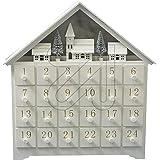yanka-style 20640 - Calendario dell'Avvento a LED, in legno bianco, 36 cm, con illuminazione interna