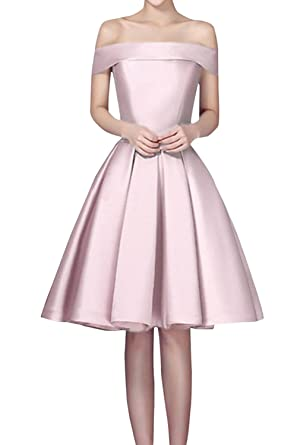 DressyMe Amazing Short Homecoming Prom Dresses Off-the-Shoulder Lace-Up Bridesmaid Gown