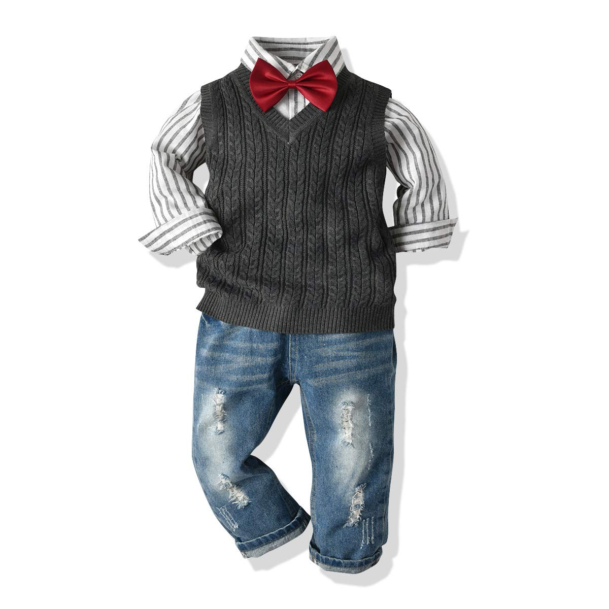 3Piece Toddler Baby Boys Gentleman Outfits Set, Long Sleeve Striped Shirt Ripped Denim Jean Bow Tie Sweater Vest Clothing White by KINGLEN Baby Outfits Set