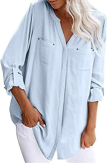 MOTOCO Top de Camisa de Solapa con Botones de Bolsillo con Cuello en v de Mujer(L, Gris): Amazon.es: Ropa y accesorios