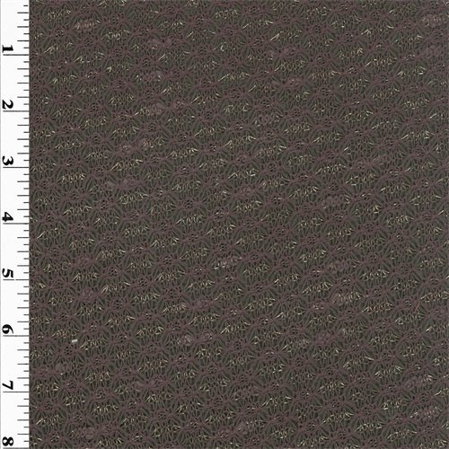 Dark Mauve/Gold Wool Pointelle Knit, Fabric by The - Wool Pointelle