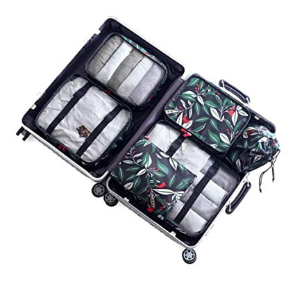 407af02e387d Amazon.com: Cosmetic Bag Case Flower Print Travel Organisers Set ...