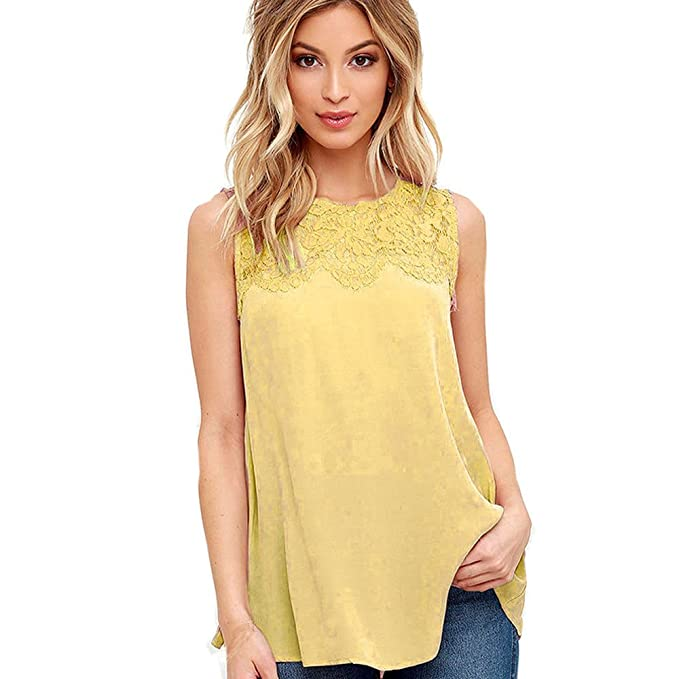 TOPUNDER Chiffon Lace Tank Top for Women Elegant Sleeveless Shirt Beach Loose Blouse Vest