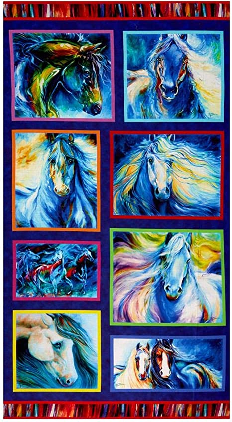 Lady W// Black Horse Fabric Quilt Block Multi Sizes FrEE ShiPpINg WoRld Wide