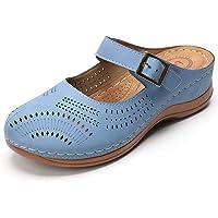 gracosy Zuecos para Mujer Cuero Verano Loafer Ahuecar Mules Zapatillas de Playa Planos Zapatos Antideslizantes Sandalias…