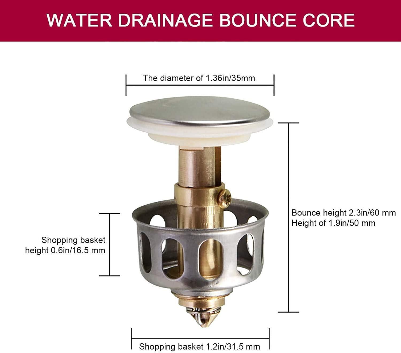NSSTAR Universal Wash Basin Bounce Drain Filter,35mm Basin Sink Push Button Drain Stopper Sink Drain Plug Stopper pop up for Kitchen Bathroom