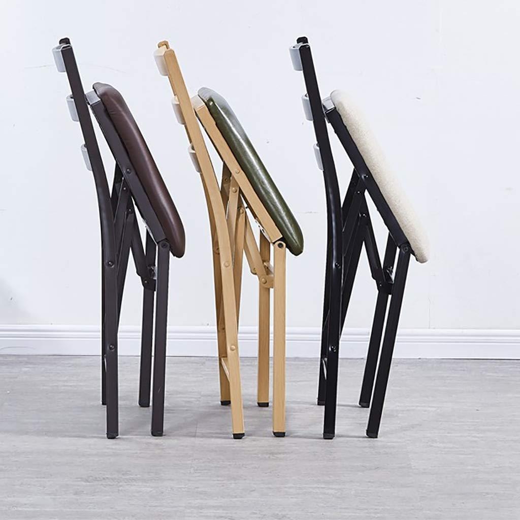 ZWJLIZI Smidesjärn tyg stoppad hopfällbar stol med ryggstöd, matsalsstol/kontorsstol/skrivbordsstol/fritidsstol (färg: E) D