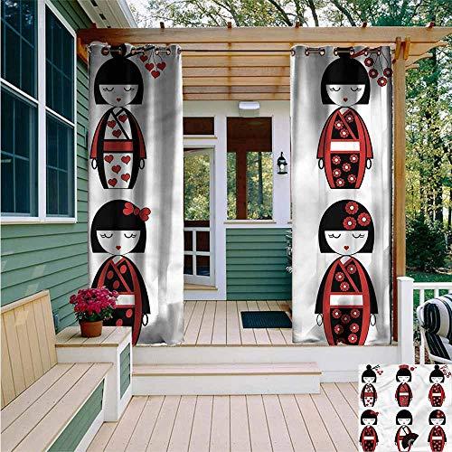 Doorway Curtain,Girls Geisha Dolls Folkloric,Darkening Thermal Insulated Blackout,W84x108L