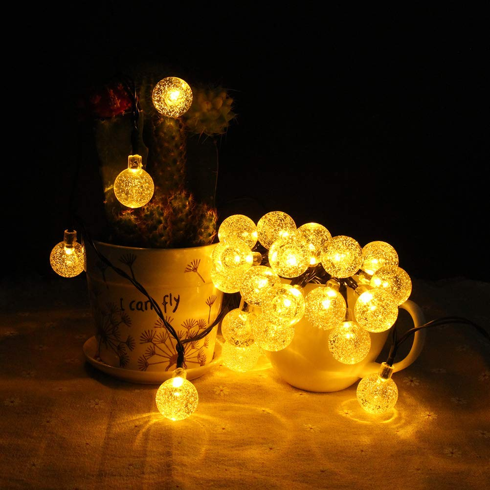 BOMEON Globe Solar String Lights 30 LED 21ft 8 Mode Bubble Crystal Ball Christmas Fairy String Lights for Outdoor Xmas Landscape Garden Patio Home Holiday Path Lawn Party Decoration (WarmWhite) by BOMEON (Image #6)
