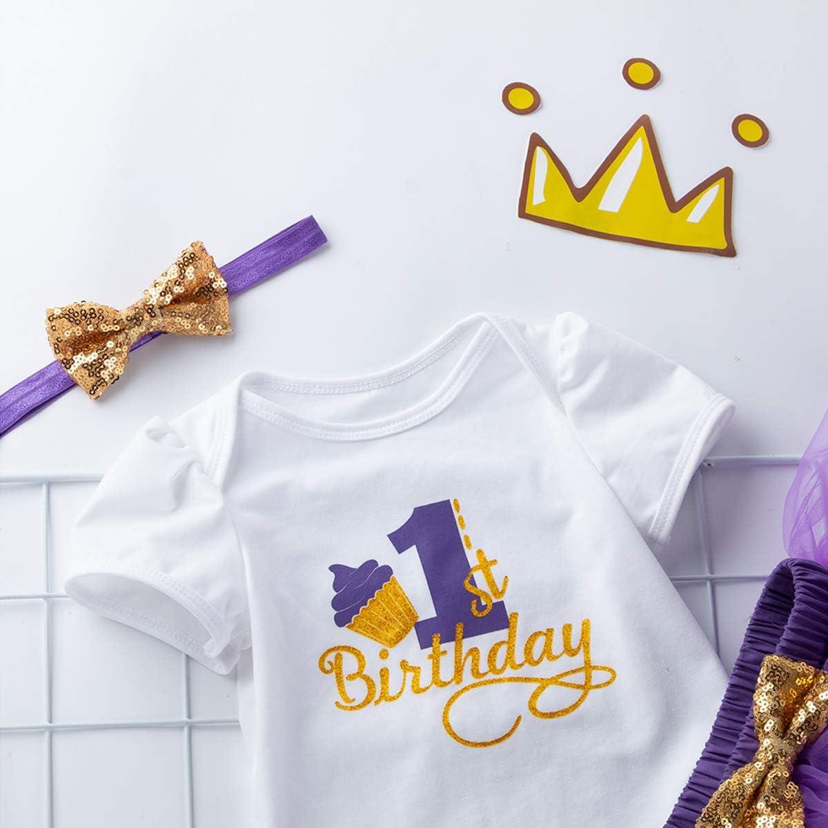 Set di tut/ù da Bambina per Primo Compleanno con Fascia in Pizzo Catpapa