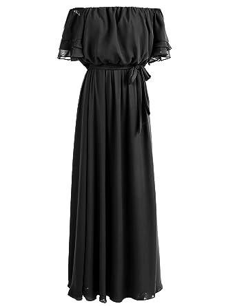 Gardenwed Flowy Off Shoulder Womens Long Bridesmaid Dress Prom Dress Beach Dress Black Size 2