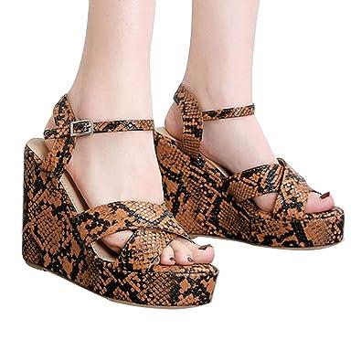 ce68083513cb Womens Espadrille Platform Sandals Wedges Heel Criss Cross Ankle Strap Open  Toe Shoes Brown
