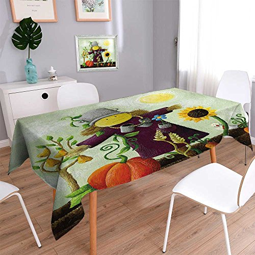 Indoor/Outdoor Spillproof Tablecloth Acrylic of Cute Scarecrow on The Field Wedding Restaurant Party Banquet Decoration 55