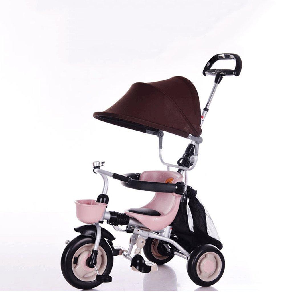 子供用三輪車軽量折りたたみ自転車赤ちゃんバイク1-6ベビーカー、ブラウン、オレンジ、73 * 46 * 106cm ( Color : Brown ) B07CCGGX68