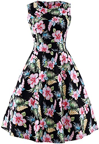 Women's Sleeveless Vintage Rockabilly Swing Hawaiian Floral Print Dress, Black, USA 6-8 (Tag M) (Hawaiian Party Dress)