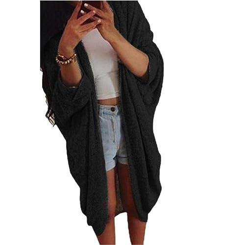 Coversolate Mujeres ocasionales de punto suéter de manga Señora capa de la chaqueta de la rebeca