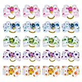 25 Pcs Dots and Pearl Pet Hair Bows Random Colors