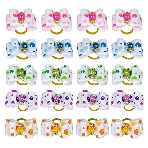 25 Pcs Dots and Pearl Pet Hair Bows Random Colors by The Crafty Owl