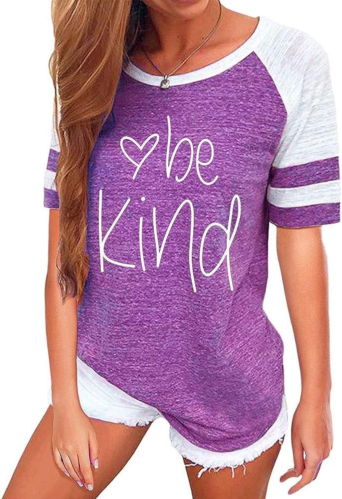 T&Twenties Women Be Kind Shirt Letter Print Teacher Shirts Inspirational Graphic Tshirt Casual O Neck Color Block Tee Tops
