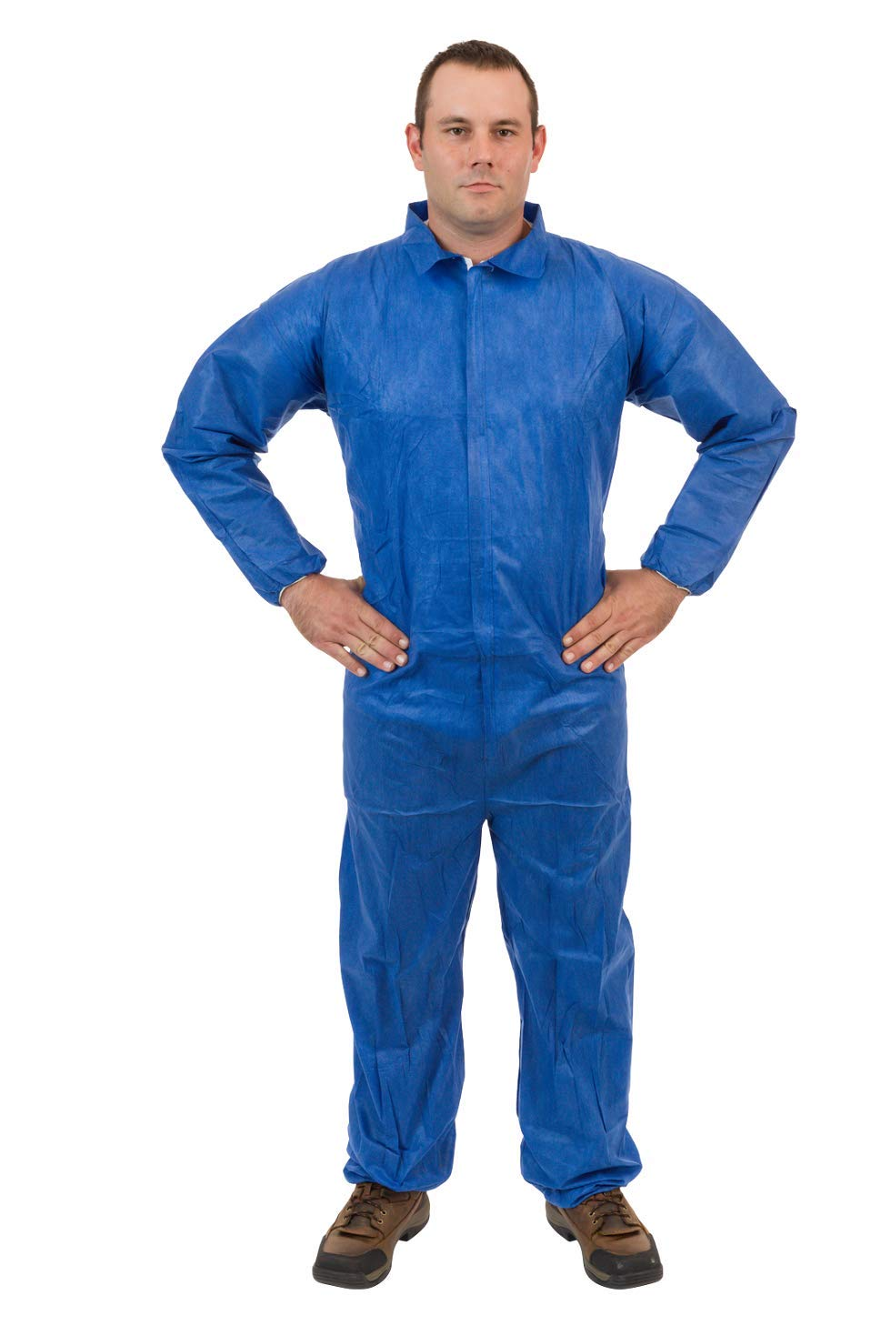 International Enviorugard – Standard SMS 3 Layer General Protective Coverall for General Cleanup (Blue) Elastic Wrist & Ankle, 4XL, (25 per case) by International Enviroguard (Image #1)