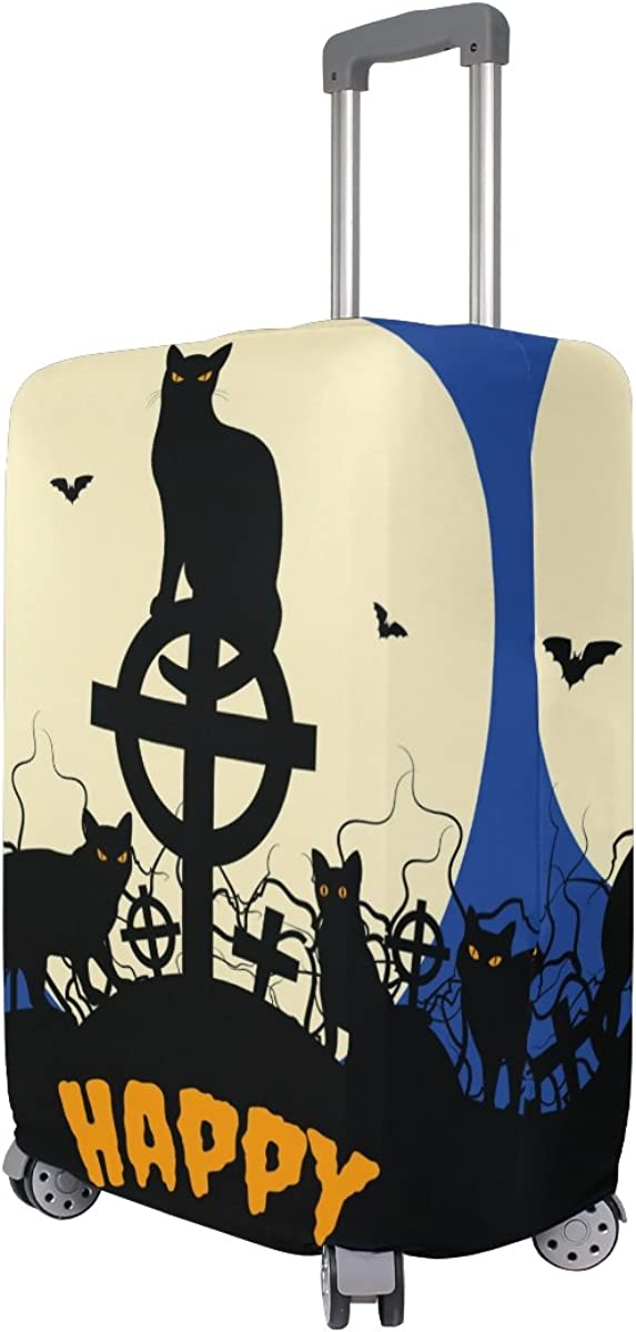 GIOVANIOR Halloween Black Cats And Full Moon Luggage Cover Suitcase Protector Carry On Covers