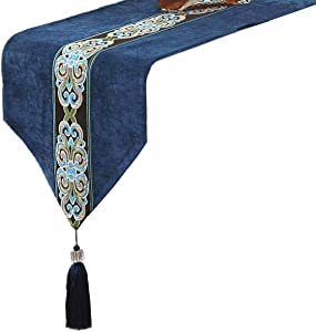 Classic Vintage Table Runner and Dresser Scarf with Tassels Middle Stripe Home Decor, 13 x 70 Inch, Blue