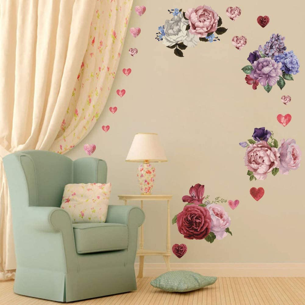 Valentine's Day Peony Flowers Wall Decal, Vinyl Love Heart Window Cling Decal, Floral Blooming Roses Wall Decor, Coloful Girls Love Decal