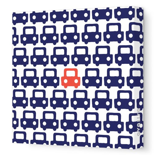 Avalisa Stretched Canvas Nursery Wall Art, Auto Pattern, Navy/Red, 28
