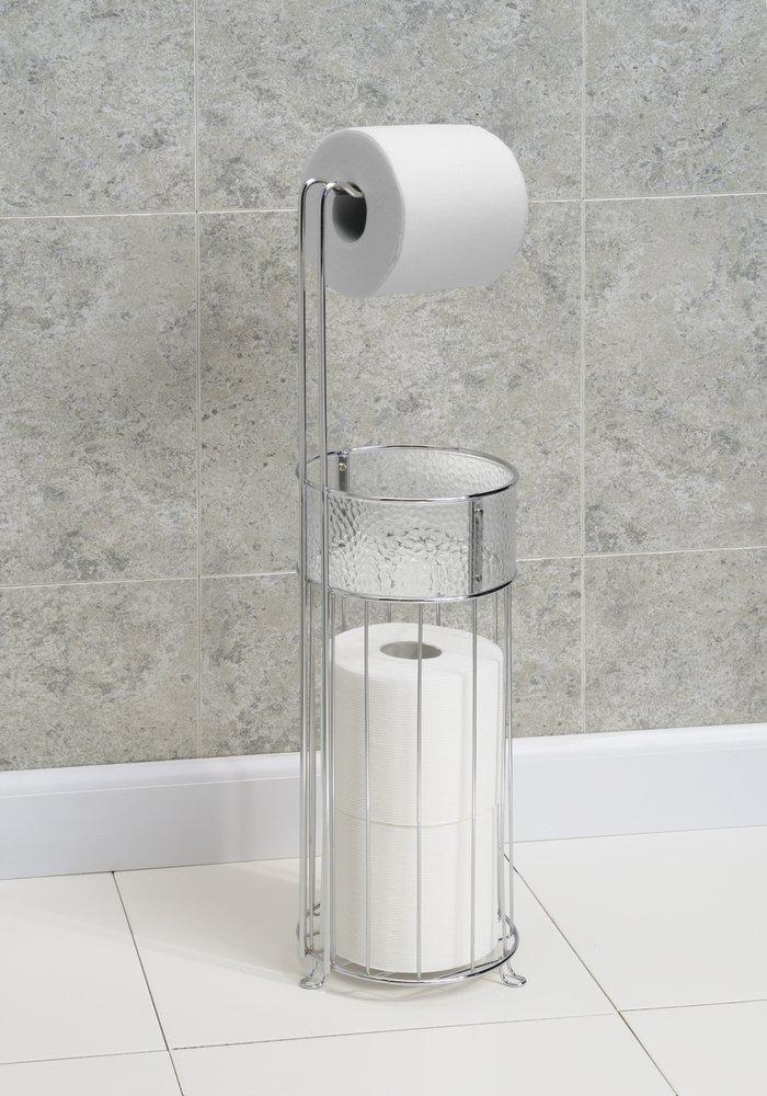 Mdesign free standing toilet paper holder for bathroom - Bathroom toilet paper holder free standing ...