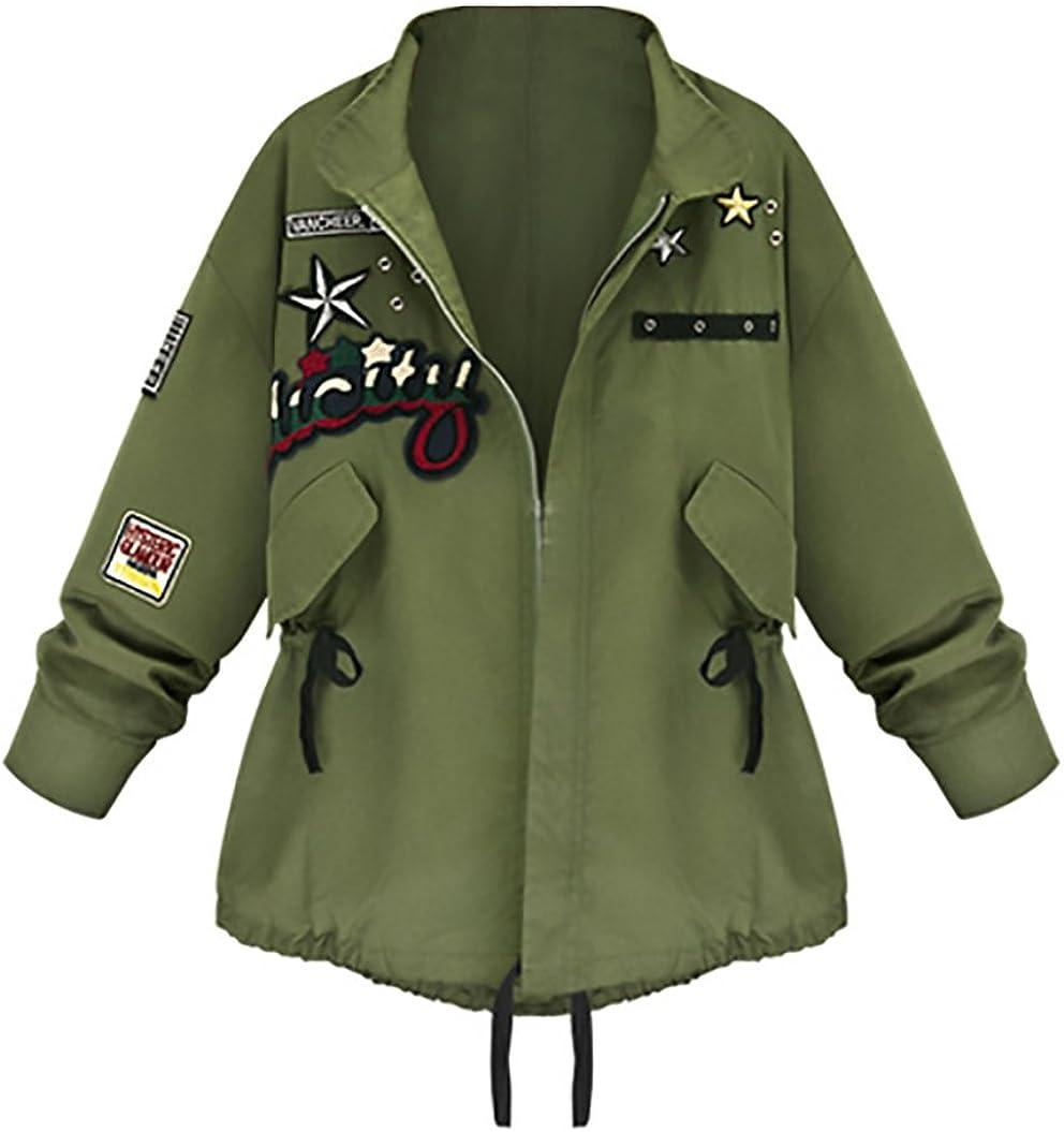 Chaquetas Mujer Militar Primavera Otoño Abrigos Camuflaje con Parche Cremallera Fiesta Verde Militar Tallas Grandes Anchas Parka Bordado Estrella Cárdigans Coat Outcoat Manga Larga