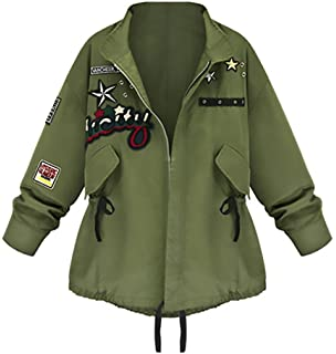 Chaquetas Mujer Militar Primavera Otoño Abrigos Camuflaje Con Parche Cremallera Fiesta Verde…