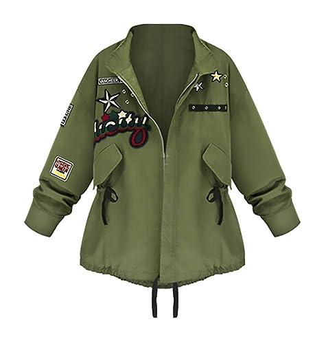 Chaquetas Mujer Militar Primavera Otoño Abrigos Camuflaje Con Parche Cremallera Fiesta Verde Militar...