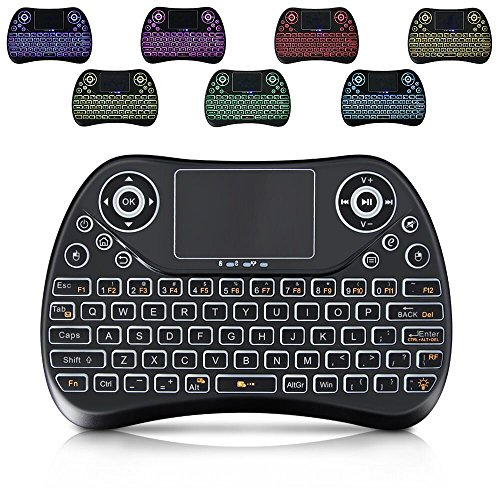 Wireless Keyboard with backlight,Mini Remote Keyboard with LED Backlit 2.4GHz Portable Rechargable Keyboard with Touchpad Mouse for Android TV BOX,PC,PAD,XBOX (TT2-1) ()
