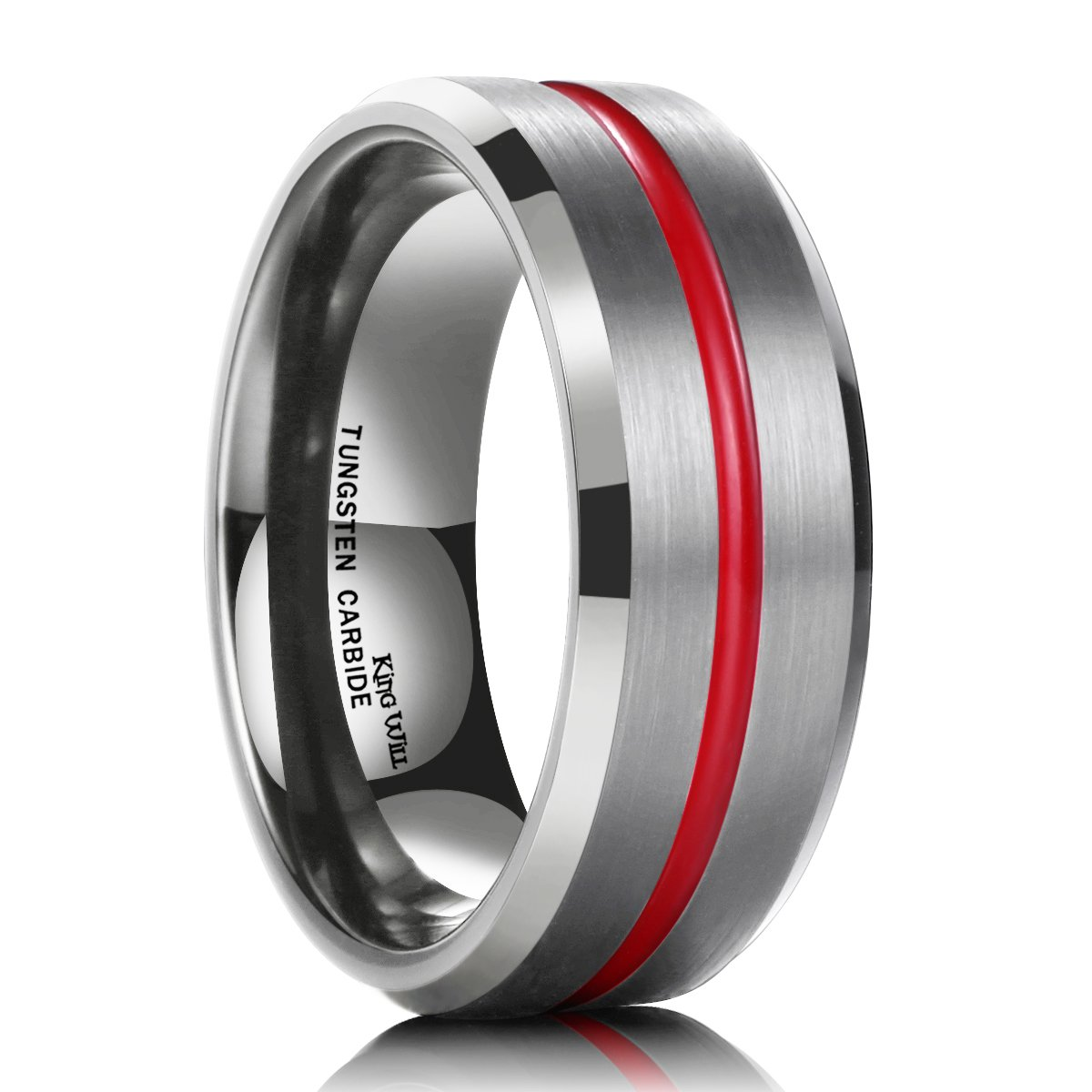 King Will 7mm Thin Red Groove Brushed Tungsten Carbide Wedding Ring Band Comfort Fit(11)
