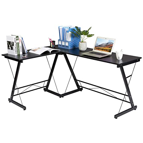 Fine Marble Field L Shaped Home Office Corner Computer Desk Wood Top Best Pc Laptop Study Writing Table For Home Office Furniture Black Home Interior And Landscaping Transignezvosmurscom