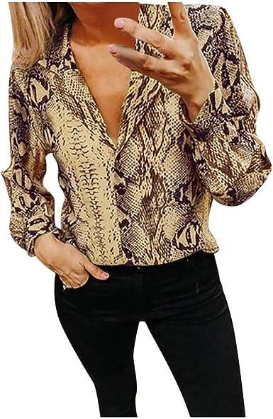 VJGOAL Camisas de Mujer Moda Casual Patrón de Serpiente Estampado Camisetas de Manga Larga Primavera Verano Solapa Botones Blusa: Amazon.es: Ropa y accesorios