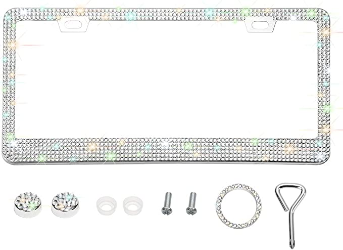 Otostar Bling Bling Car License Plate Frame Silver 3 Rows 2 Holes Handmade 8 Facets Rhinestones Stainless Steel License Plate Holder Cover with Screws Caps