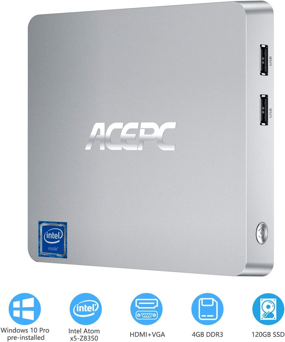 Mini PC, T11 Intel Atom Z8350 Windows 10 Pro Mini Computer 4GB DDR/64GB eMMC/120GB 2.5-Inch SATA III Internal SSD,Support 4K HD,HDMI+VGA Output,2.4G/5G WiFi,Bluetooth,1000Mbps Ethernet